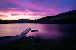 Sunset At Ladybower Reservoir Pier Side 5k Wallpaper