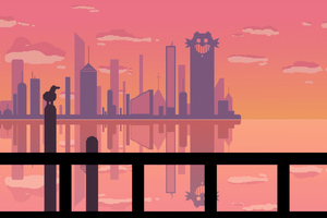 Sunset At Pixel City Wallpaper