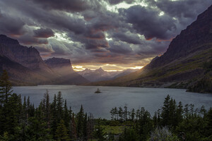 Sunset At St Mary Lake Glacier National Park 5k Wallpaper