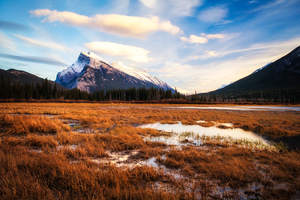 Sunset At Vermillion Lakes In Banff Canada
