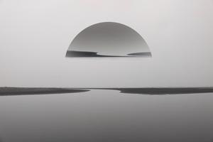 Sunset Beach Reflection Monochrome 5k