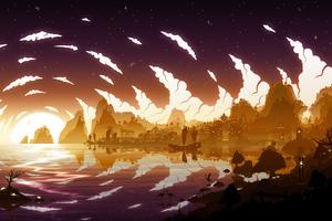 Sunset Beyond Liyue Genshin Impact 5k Wallpaper