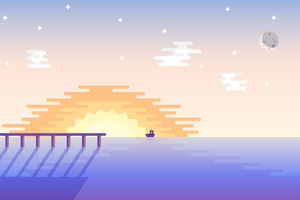 Sunset Boat Minimal 4k