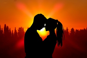 Sunset Couple Love Silhouette 5k Wallpaper
