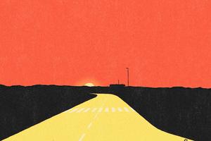 Sunset Evening Road Desert 5k Wallpaper