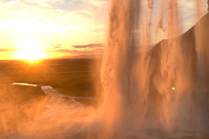 Sunset From Waterfall Behind Wallpaper