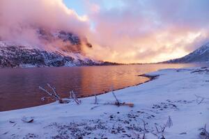 Sunset Frozen Lake Evening
