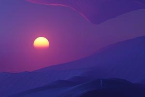 Sunset In Desert Dark Evening 5k Wallpaper