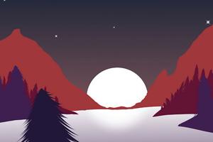 Sunset In Mountains Minimalism 8k Wallpaper
