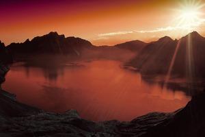 Sunset Lake Mountain Scenery Landscape Nature 4k