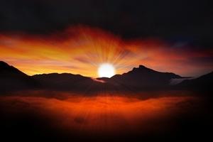 Sunset Landscape Evening Sky 4k Wallpaper
