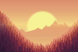 Sunset Minimal Mountains Trees 8k Wallpaper