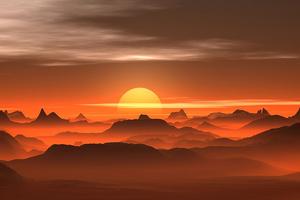 Sunset Mist Desert 4k