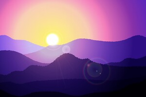 Sunset Mountain Minimal Art 4k Wallpaper