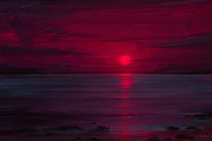 Sunset Neon Ocean