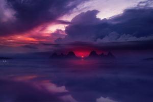 Sunset Ocean Digital Art Wallpaper