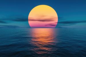 Sunset Ocean Lake 5k Wallpaper
