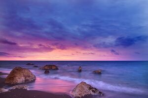 Sunset Ocean Water Rock Beach 5k Wallpaper