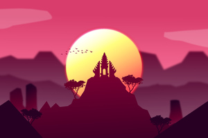 Sunset On A Temple 10k Wallpaper