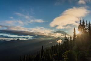 Sunset On Mt Rainier Naches Peak Loop Wallpaper