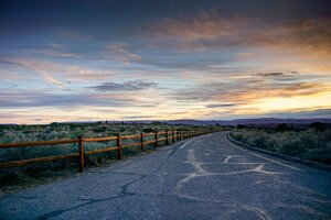 Sunset Open Road Colorful Sky