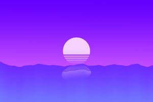 Sunset Outrun Minimalism 4k