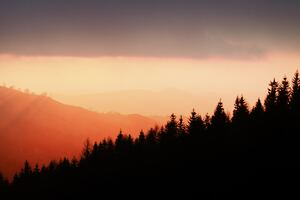 Sunset Over Cantal 5k Wallpaper