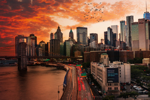 Sunset Over Manhattan Bridge Wallpaper