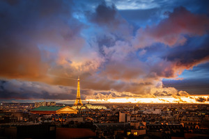 Sunset Over Paris Wallpaper