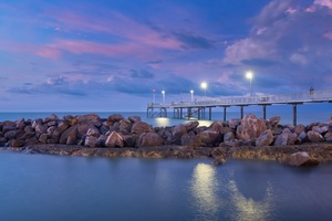 Sunset Pier People Standing Evening