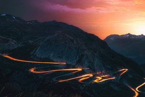 Sunset Trails Mountains Road Long Exposure 5k Wallpaper