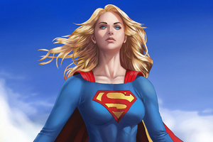 Supergirl Flying Above Wallpaper