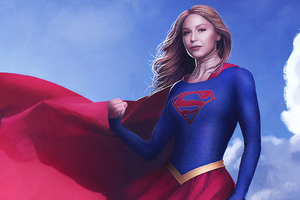 Supergirl Flying Art
