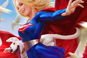 Supergirl Happy 4k Wallpaper