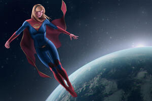 Supergirl Oversee The Earth Wallpaper