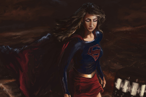 Supergirl Paint Artwork Wallpaper