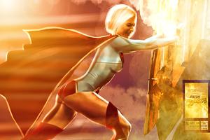 Supergirl Pushing Truck 4k Wallpaper
