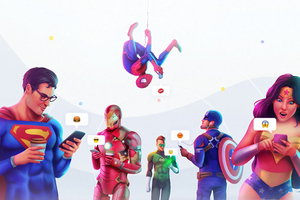 Superheroes Chatting On Phones 4k Wallpaper