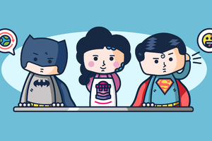 Superheroes WorkIng In Customer Service Wallpaper
