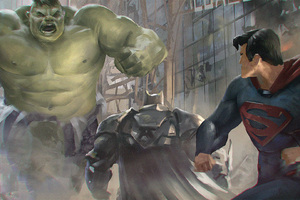 Superman And Batman Vs Hulk Artwork