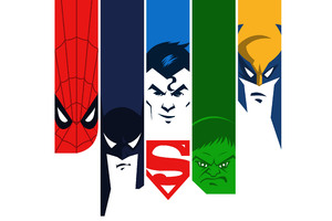 Superman Batman Hulk Spiderman Wolverine 4k Minimalism