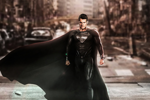 Superman Black Suit Justice League Wallpaper