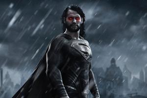 Superman Black Suit Long Hair Wallpaper