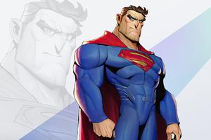 Superman Cartoon Minimal 4k Wallpaper
