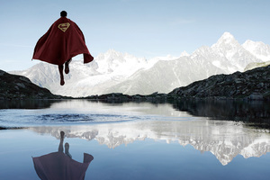 Superman Flying Above The Water