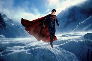 Superman Ice Mountains 4k Wallpaper