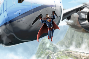 Superman Saves Jet Wallpaper