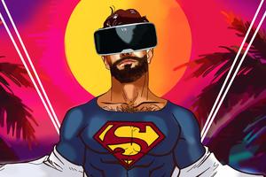 Superman Using VR Headset