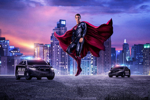 Superman With Police Cars