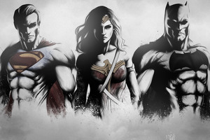 Superman Wonder Woman Batman Art Sketch 4k Wallpaper